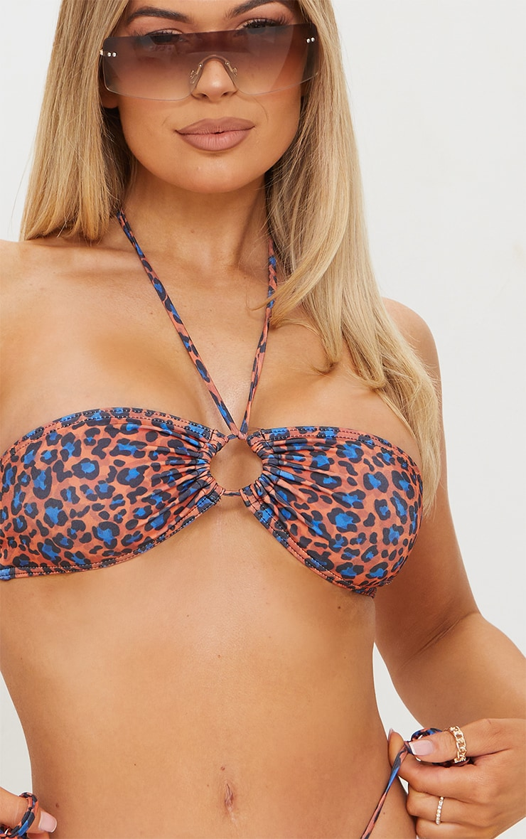 Orange Cheetah Print Tie Back Adjustable Mini Bikini Top 4
