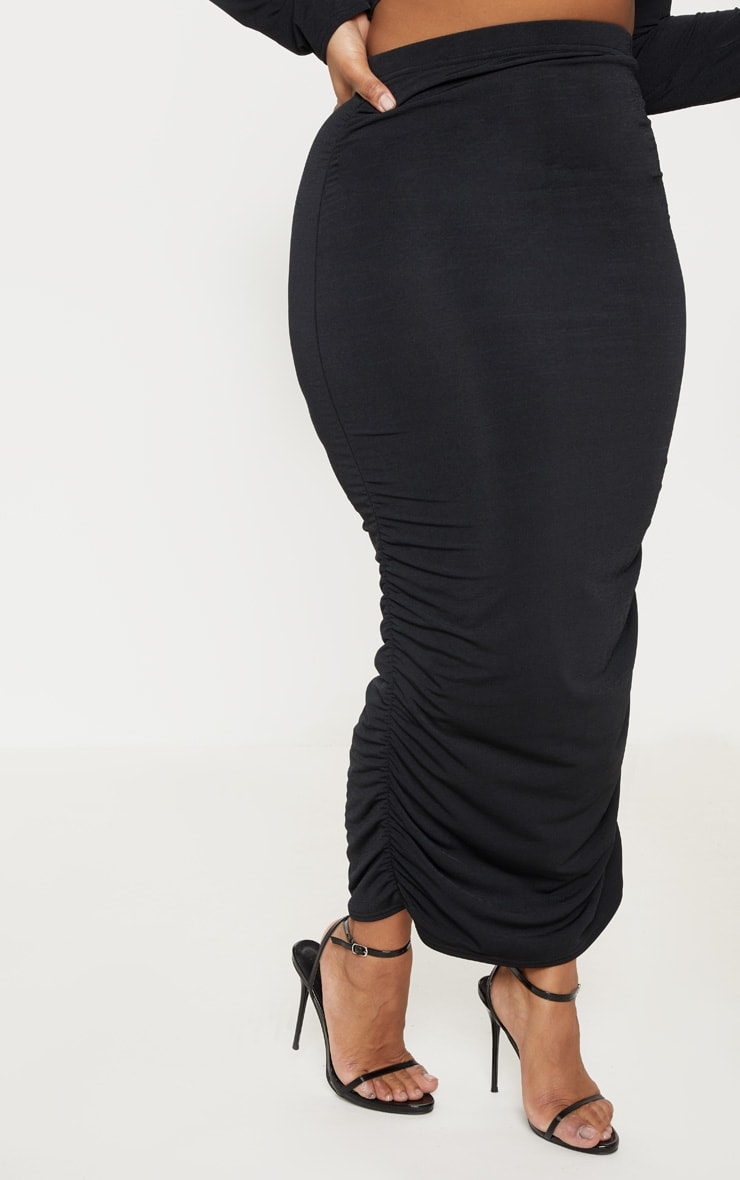 Plus Black Slinky Ruched Midi Skirt 2