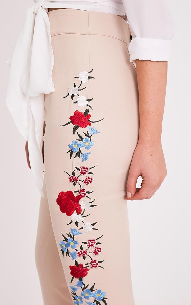 Kamari Nude Embroidered Skinny Trousers 6