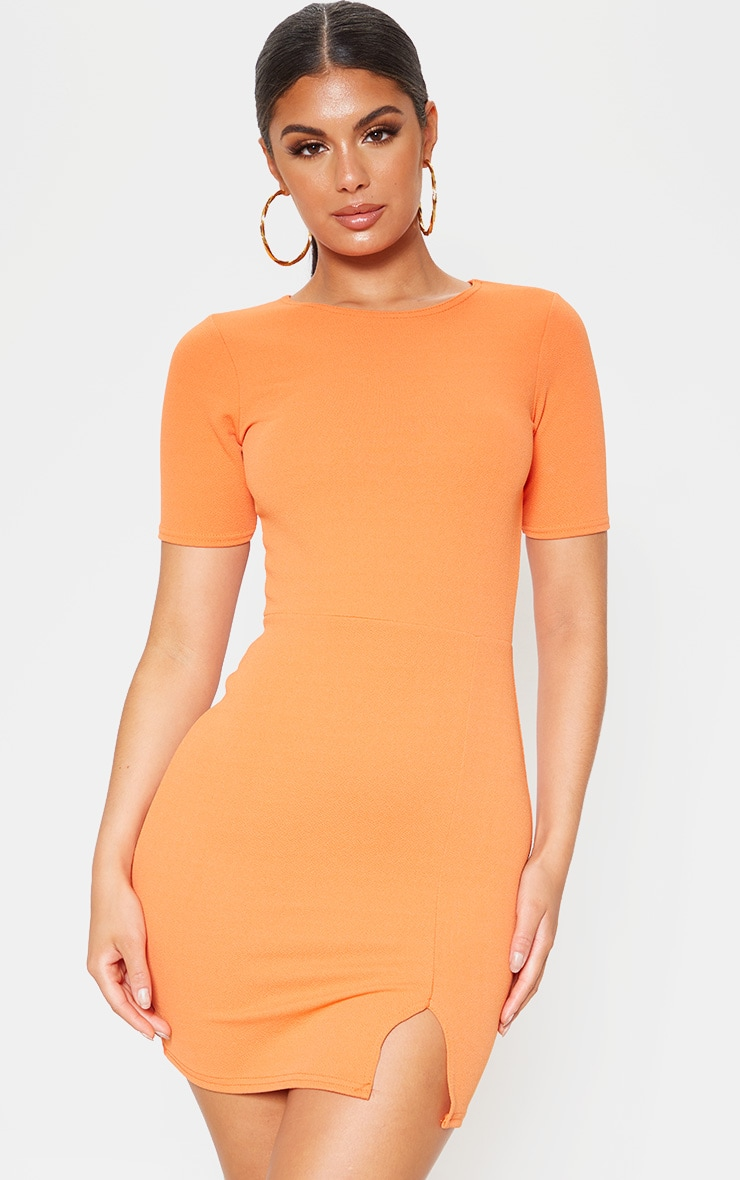 Orange Split Detail Short Sleeve Bodycon Dress 1