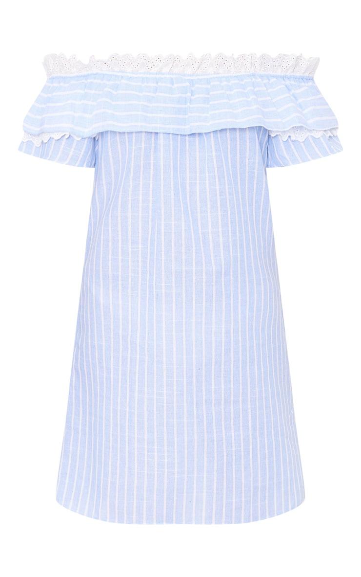 Blue Stripe Broderie Bardot Shift Dress 3