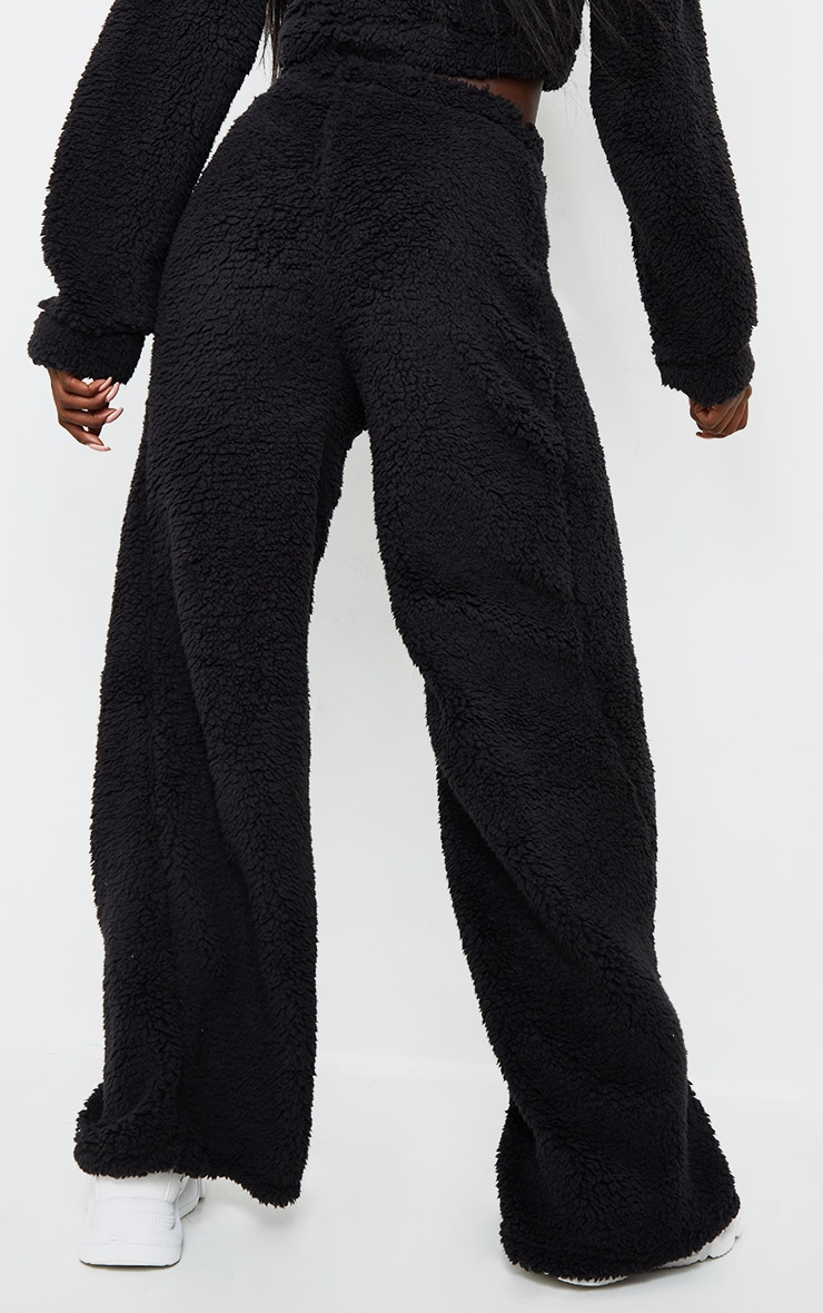 Tall Black Soft Borg Wide Leg Track Pants 3