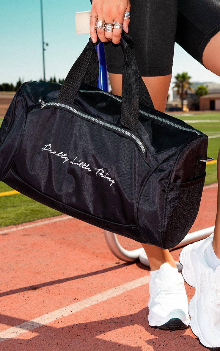 PRETTYLITTLETHING Black Logo Gym Bag