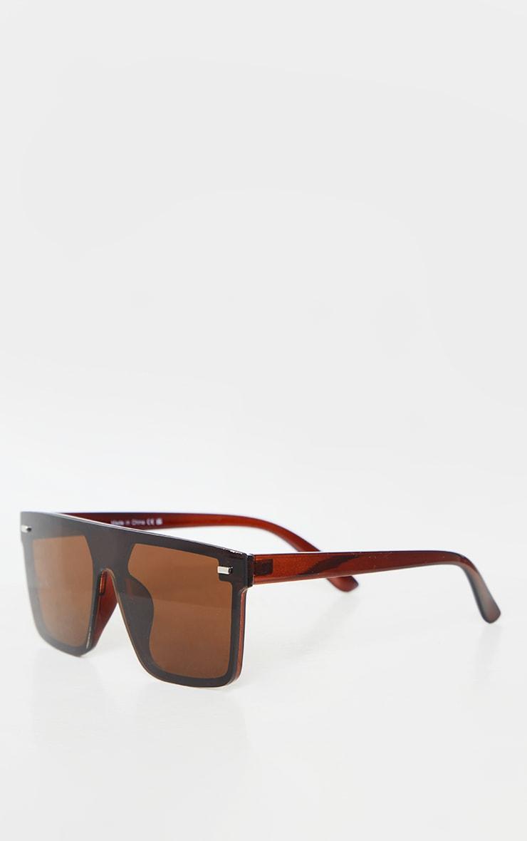 Brown Oversized Resin Frame Fade Lens Sunglasses 2