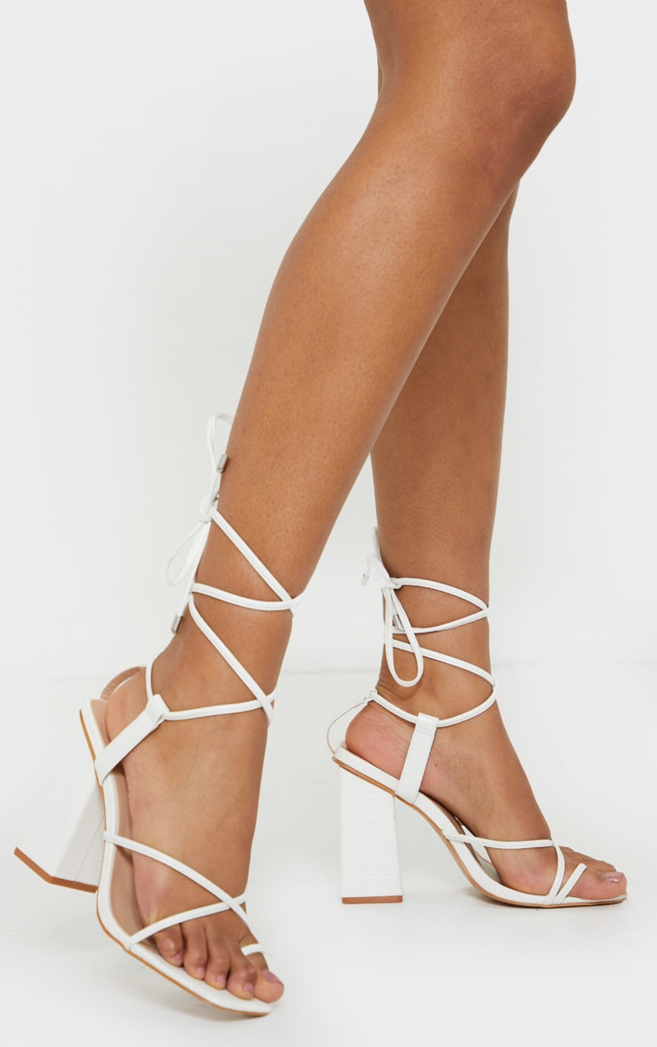 White Wide Fit Toe Loop Ankle Tie Chunky Block Heel Sandals 1