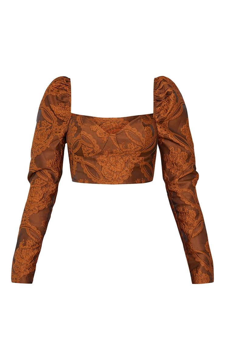 Camel Structured Embossed Jacquard Cup Detail Puff Long Sleeve Crop Top 5