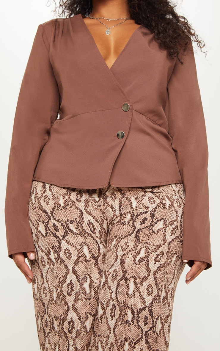 Plus Chocolate Brown Draped Button Detail Blouse 5
