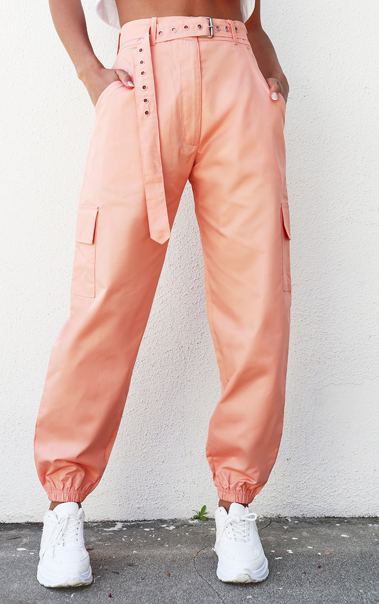 Peach Eyelet Detail Belted Cargo Pants 2