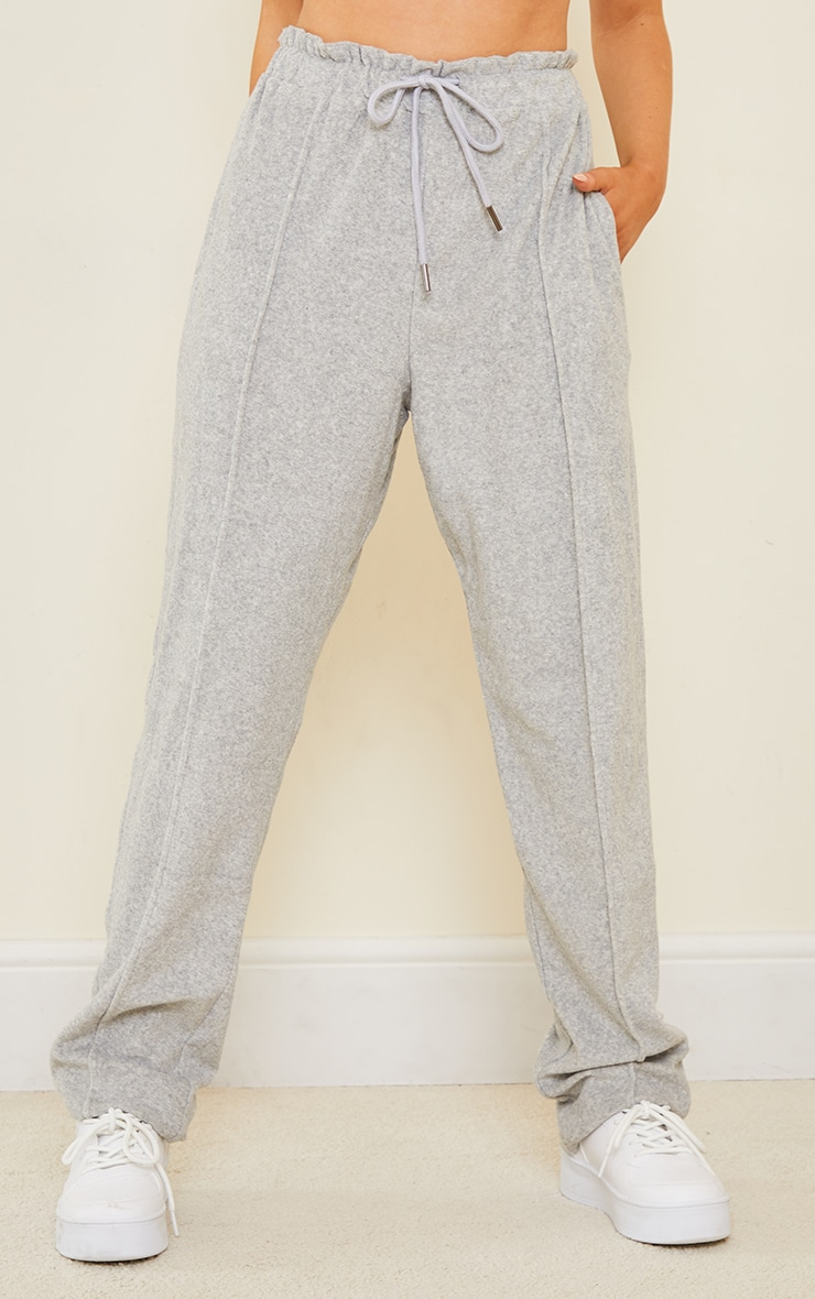 Grey Pintuck Detail Towelling Tapered Joggers 2