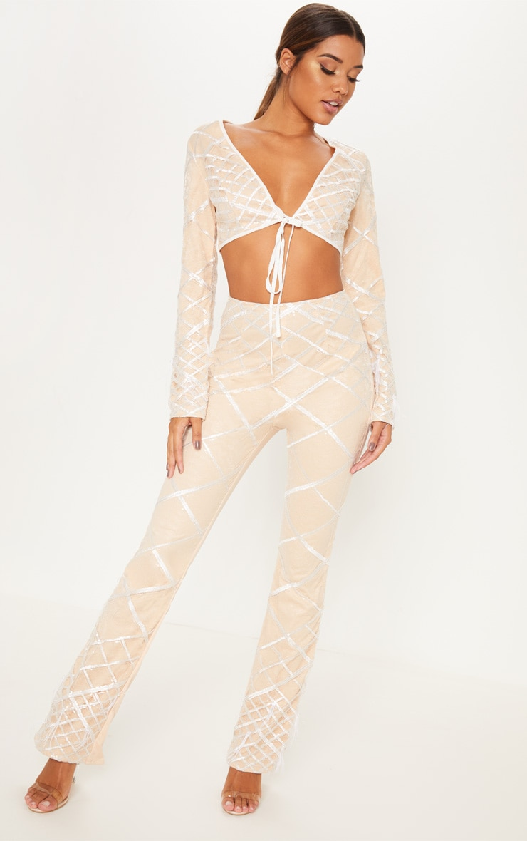 Nude Embroidered Sequin Flared Trousers