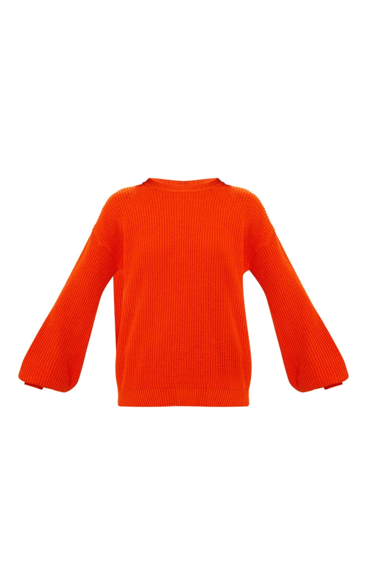 Orange Oversized Balloon Sleeve Jumper 3