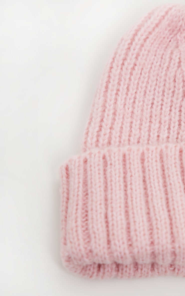 Pink Ribbed Knitted Beanie 3