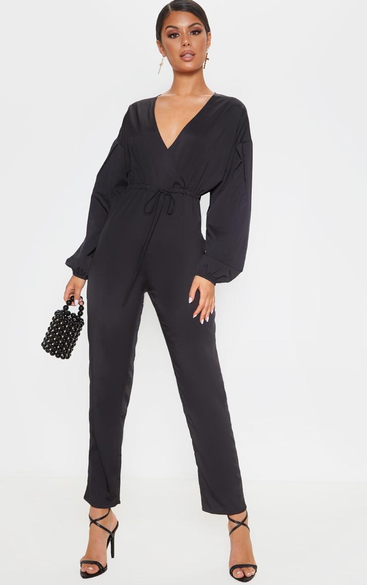 Black Wrap Long Sleeve Woven Jumpsuit image 1