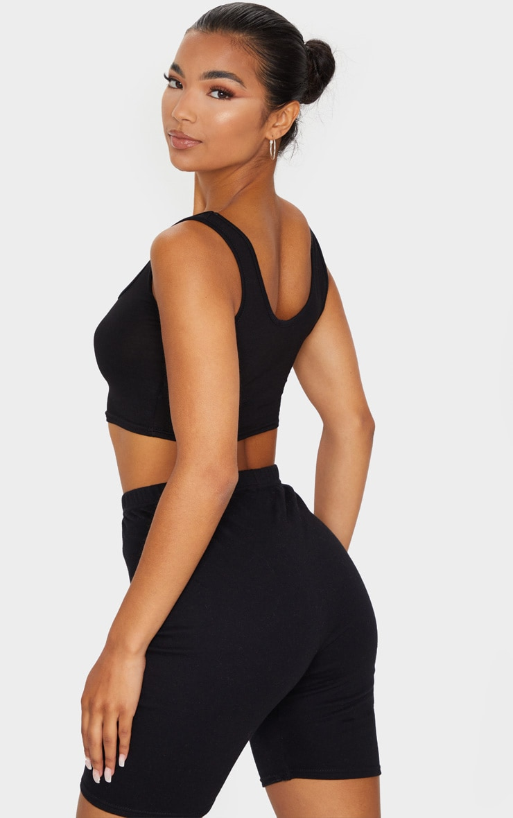 Essential Black Cotton Blend Scoop Neck Crop Top 2