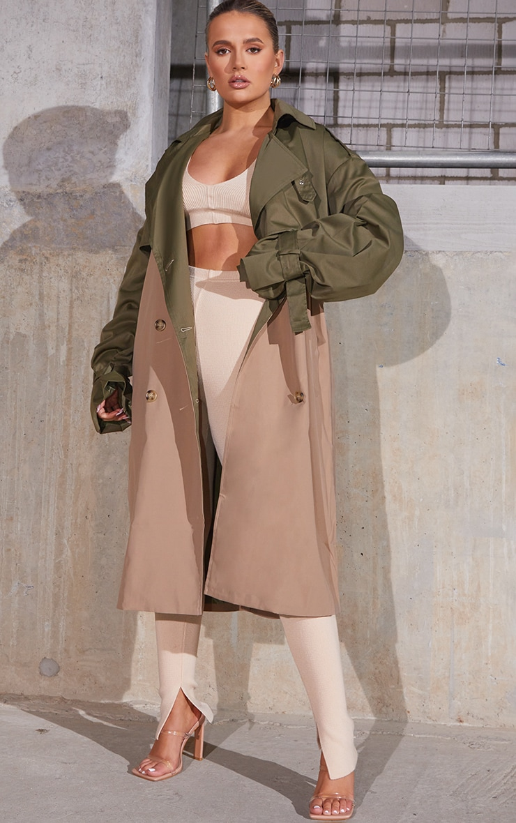 Khaki Contrast Oversized Belted Midi Trench