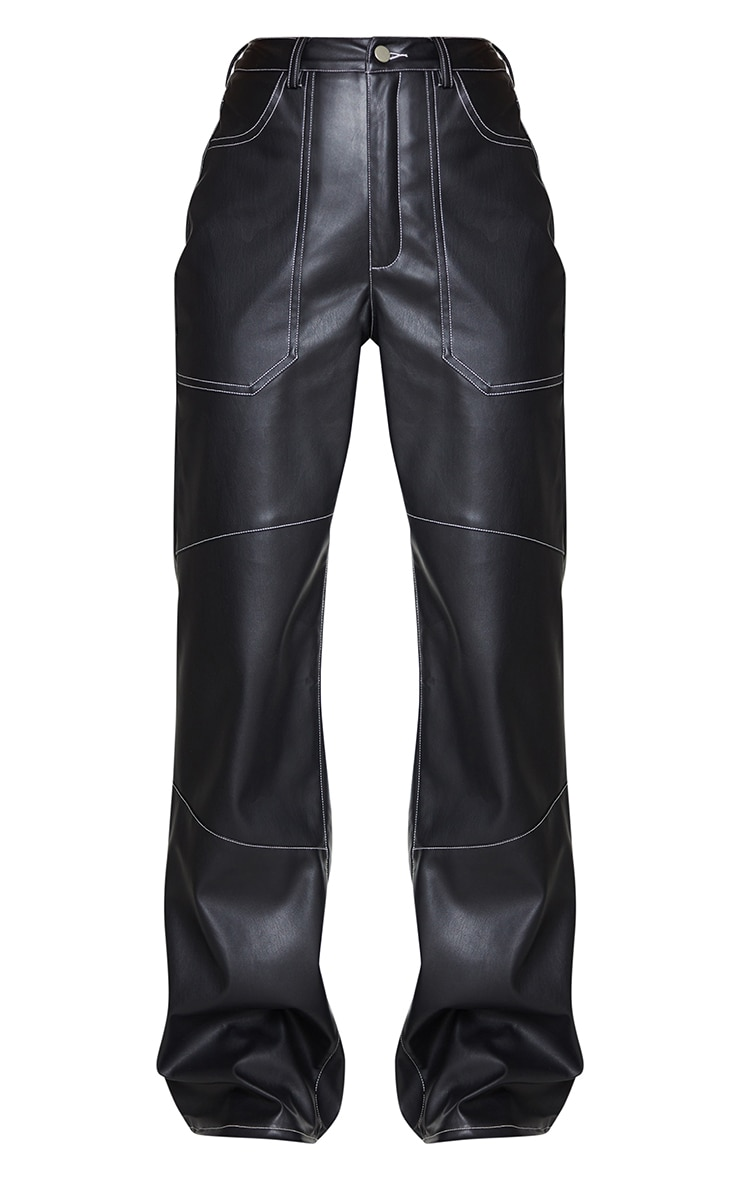 Black Faux Leather Seam Extreme Wide Leg Pants 5