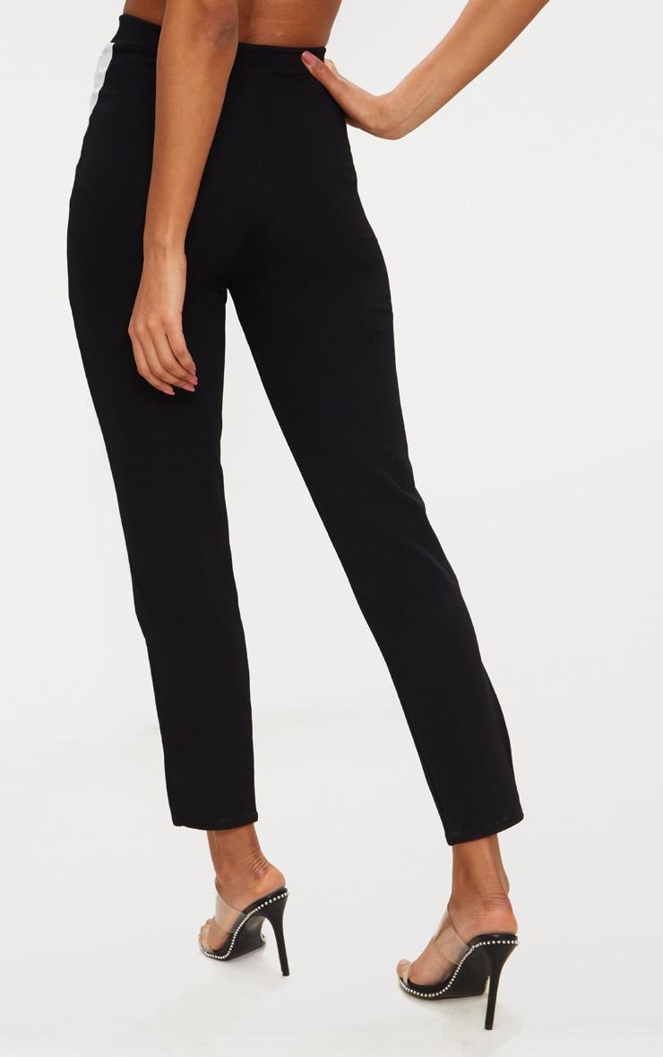 pantalon droit noir bande blanche lat rale contraste pantalons. Black Bedroom Furniture Sets. Home Design Ideas