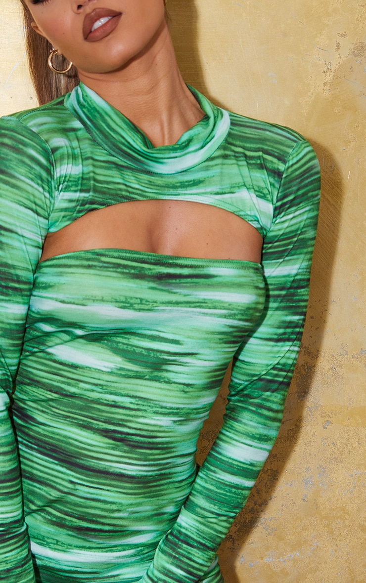 Bright Green Stripe Extreme Crop High Neck Top 4