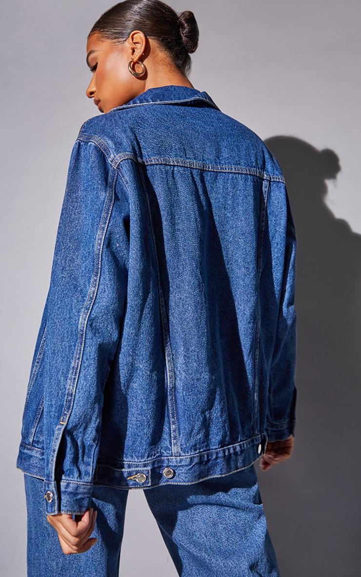 Recycled Mid Blue Wash Basic Oversized Boyfriend Denim Jacket 2