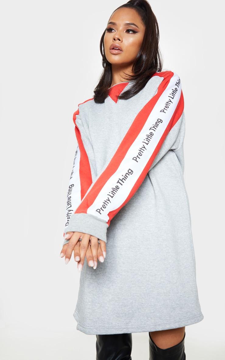 PRETTYLITTLETHING Grey Slogan Contrast Sweater Jumper Dress  1