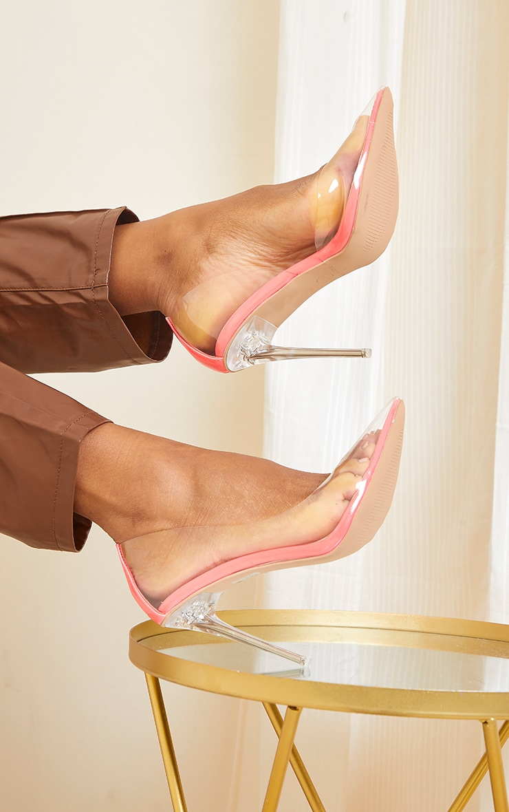 Pink High Clear Cut Out Side Court Heels 2