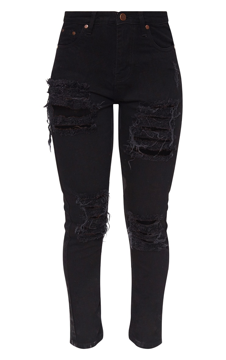 Black Ripped Straight Leg Jean 2