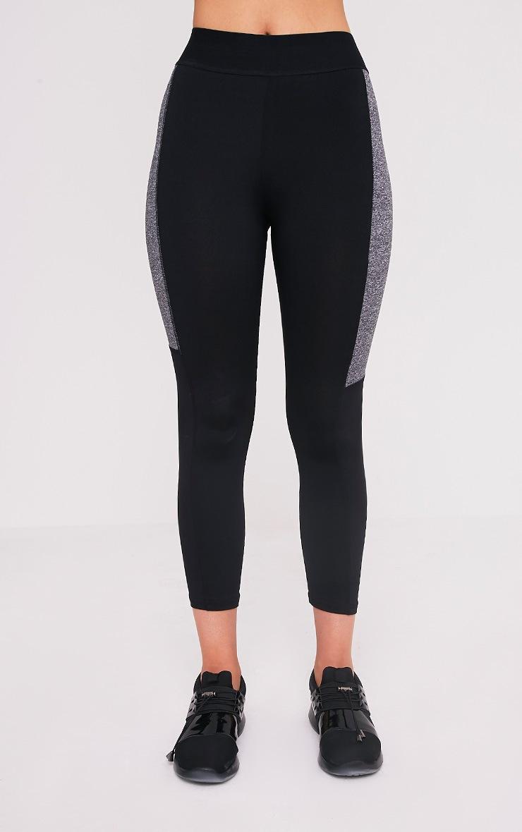 Isadora Black Panelled Gym Leggings 2