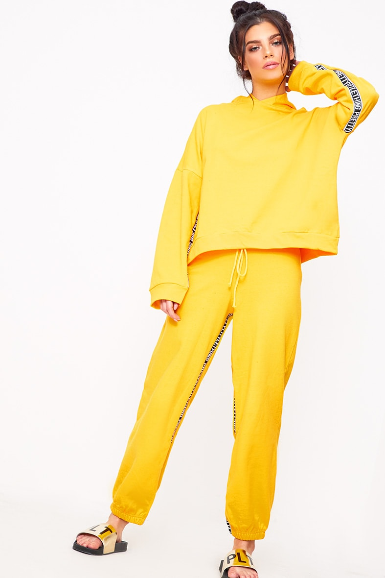 PRETTYLITTLETHING Yellow Branded Oversized Hoodie 4