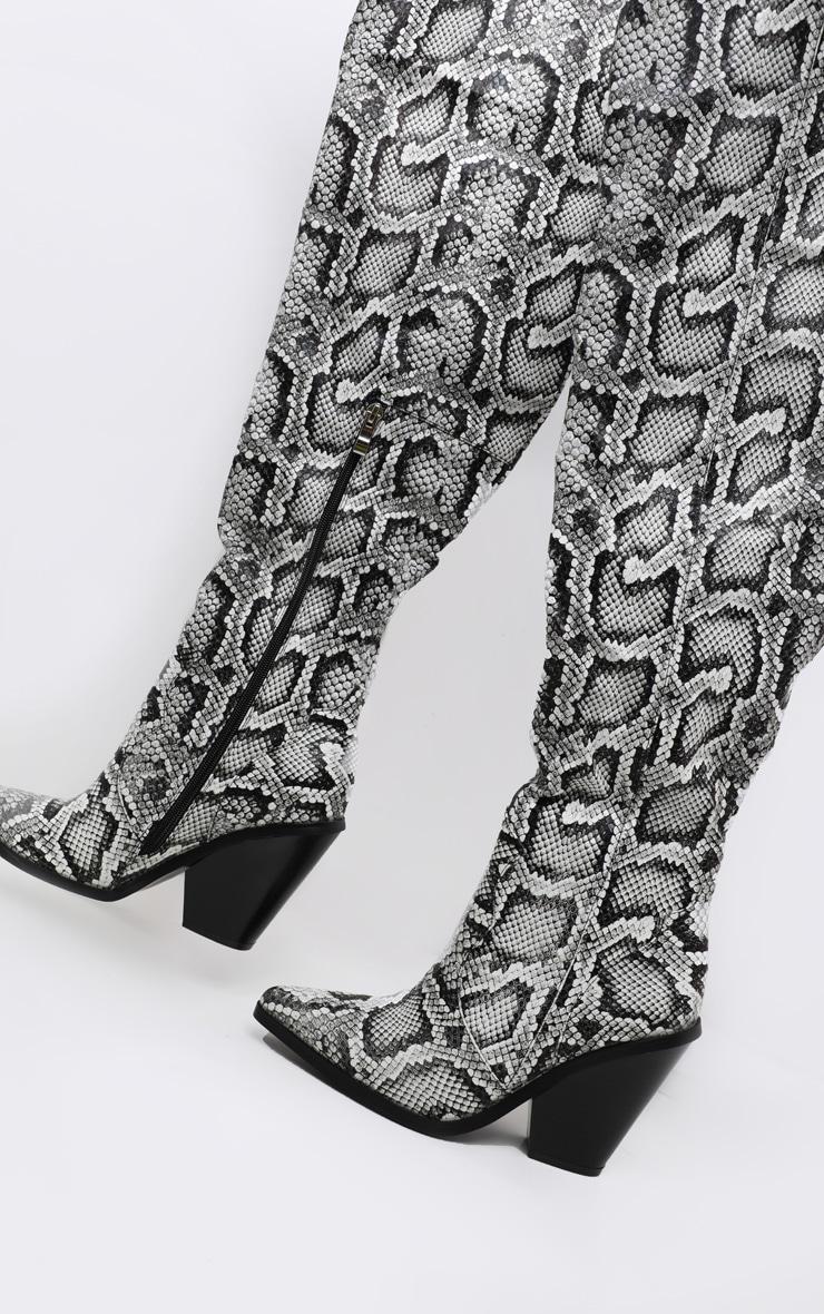 Grey Thigh High Croc Western Boot 3