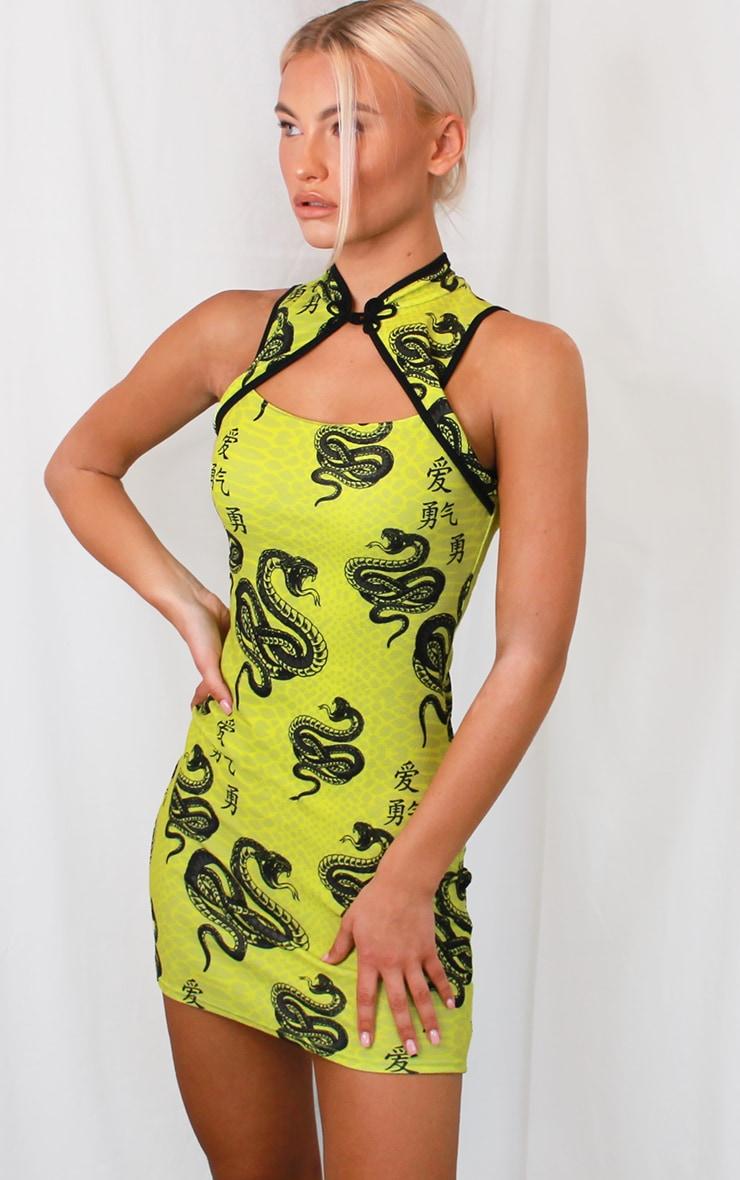 Lime Snake Print Neck Detail Bodycon Dress 1