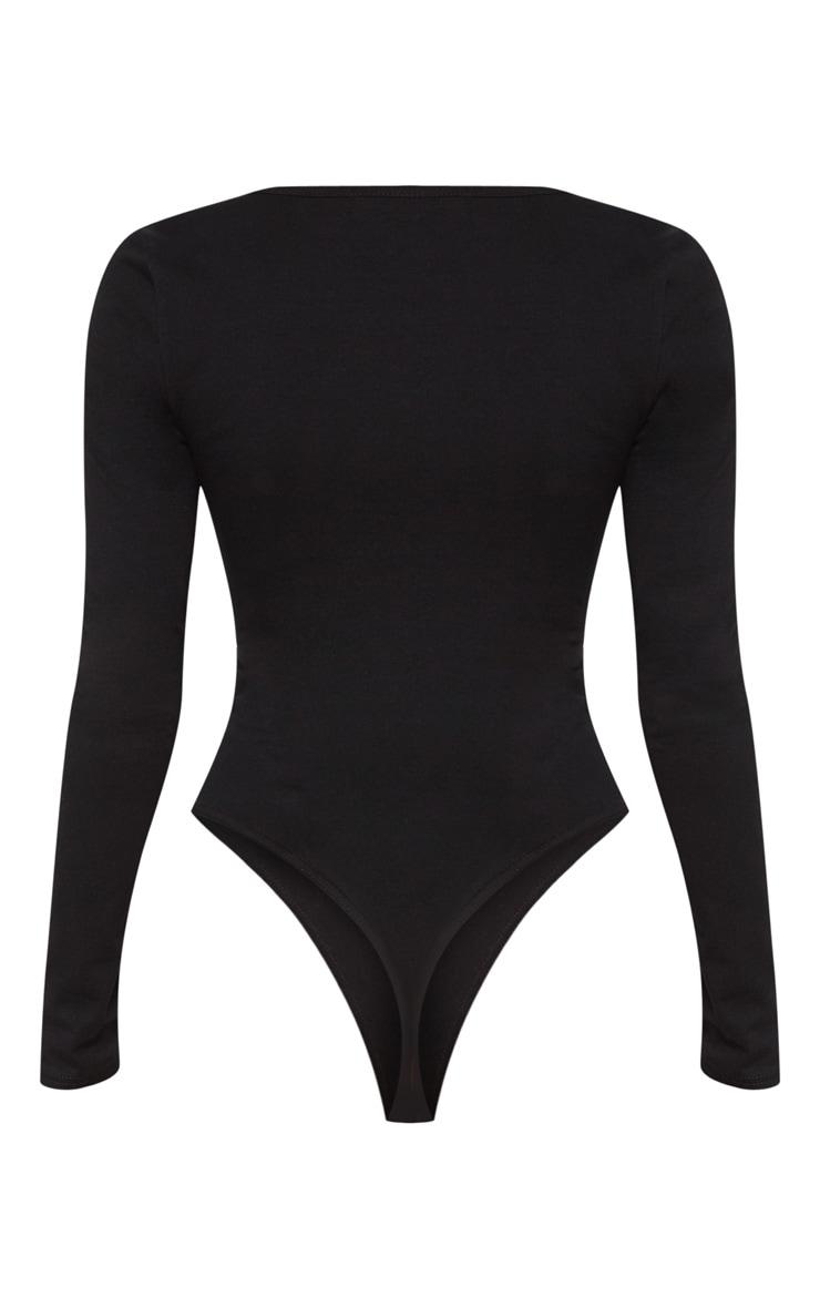 Black Cotton Square Neck Long Sleeve Bodysuit 4