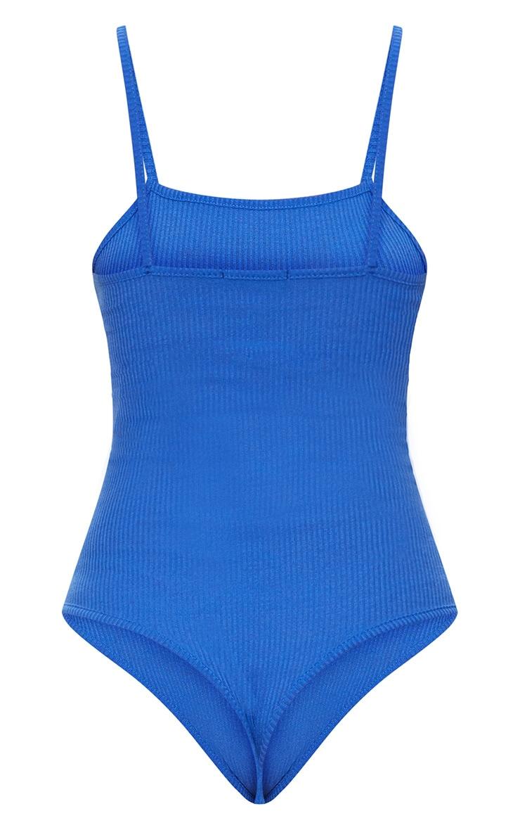 Cobalt Ribbed Square Neck Thong Bodysuit 4