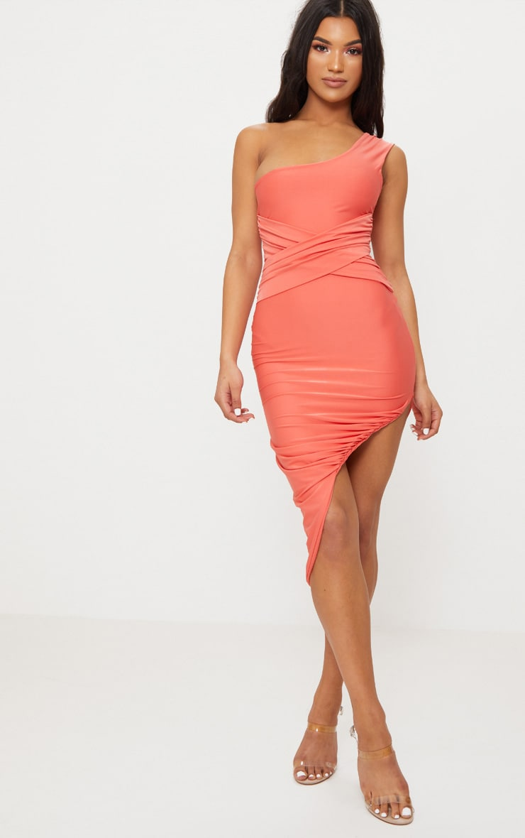 Coral Double Layer Slinky One Shoulder Ruched Detail Midi Dress Pretty Little Thing jii9PwuoG