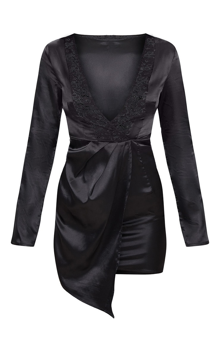 Black Satin Lace Trim Long Sleeve Plunge Bodycon Dress 2