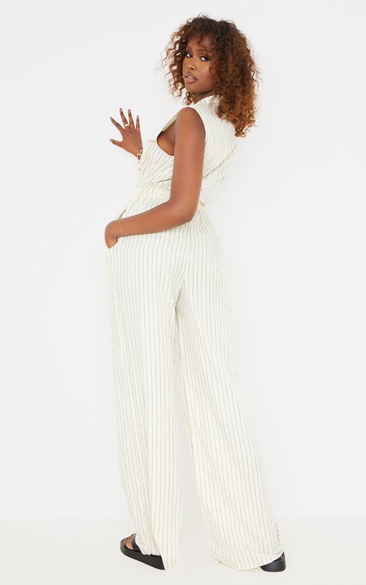 Cream Pinstripe Pocket Detail Sleeveless Zip Jumpsuit 2