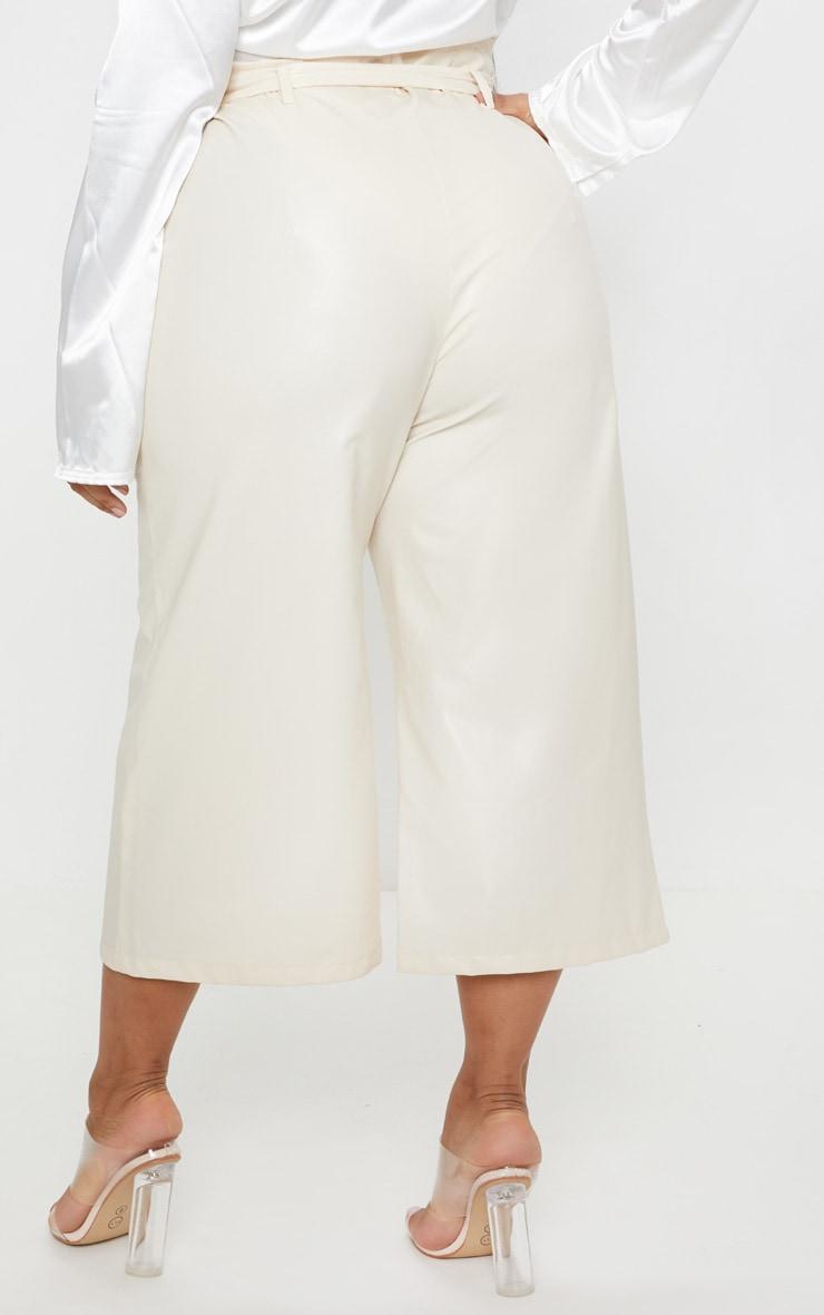 Plus Cream Faux Leather Belt Detail Culotte  4