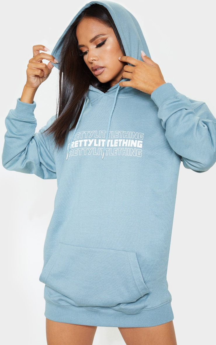 Lead grey PRETTYLITTLETHING Slogan Oversized Hoodie Dress 4