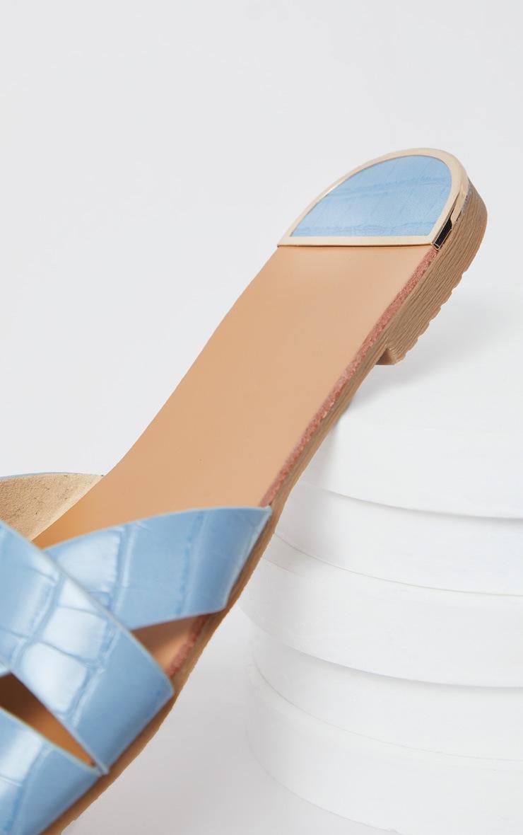 Blue Croc PU Strap Over Flat Sandals 3