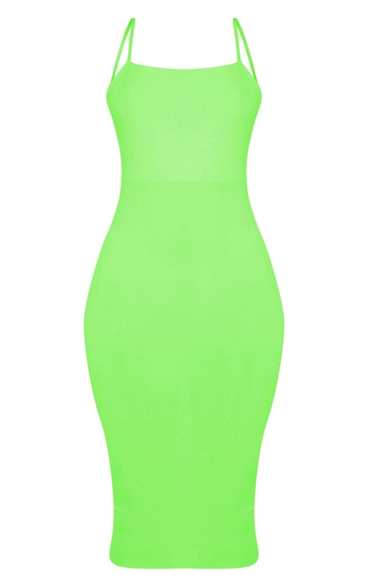 Neon Lime Strappy Midi Dress 3