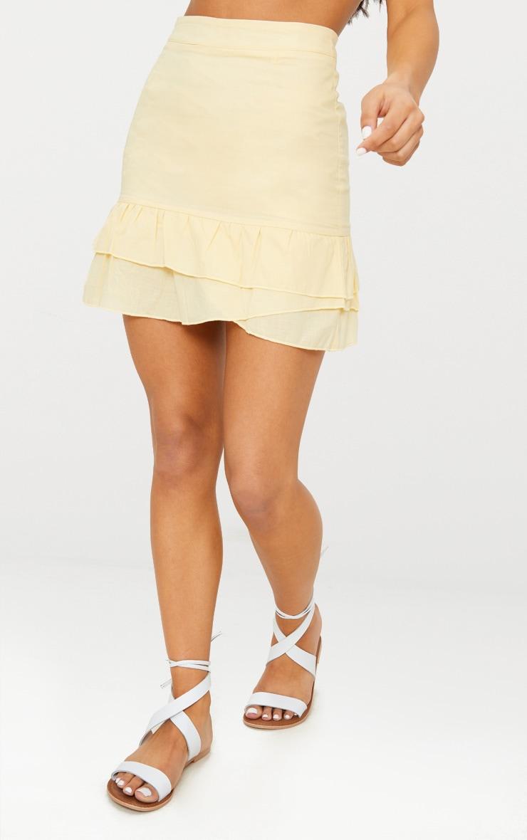 Lemon Cotton Frill Detail Layered Mini Skirt 2