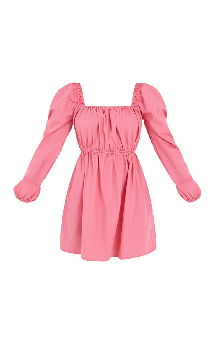 Petite Coral Ruched Balloon Sleeve Smock Dress 5