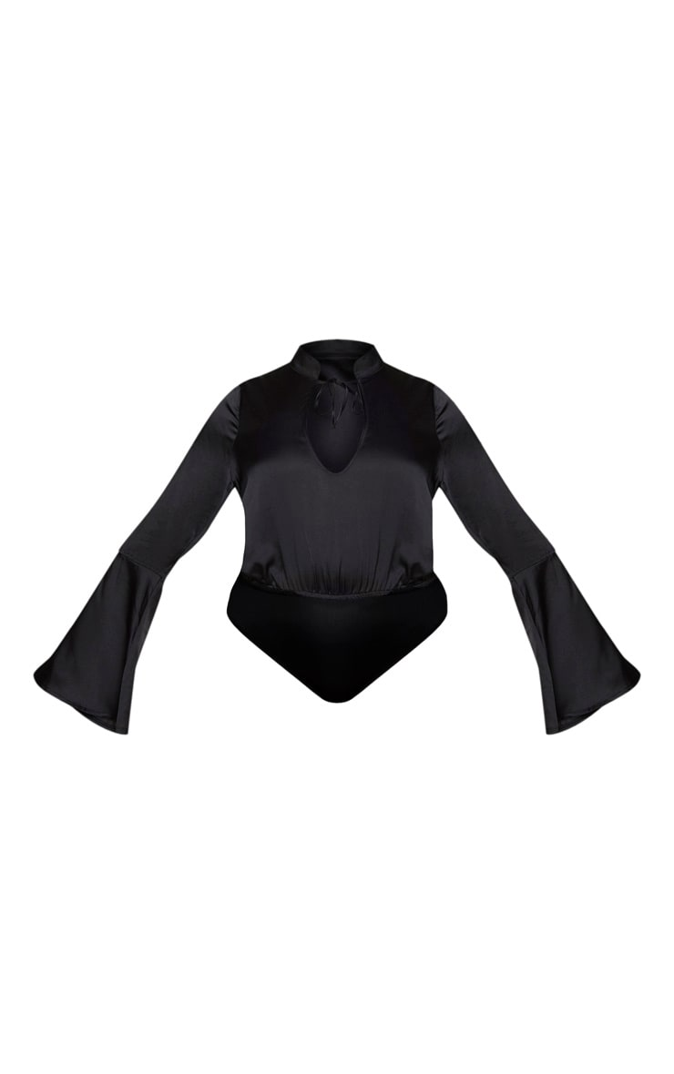 Plus Black Satin Tie Neck Cut Out Bodysuit 5