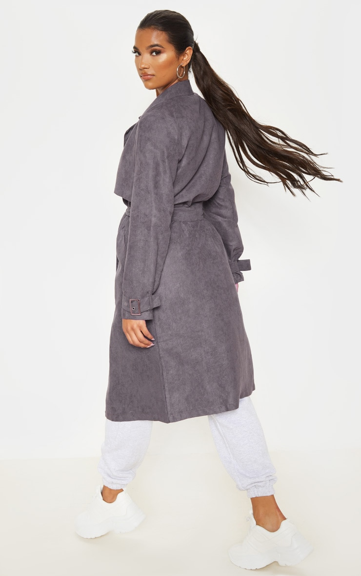 Grey Faux Suede Trench  2
