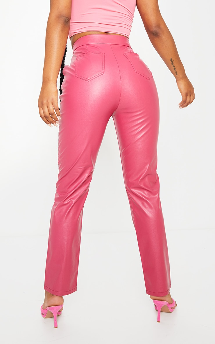 Hot Pink Faux Leather Pintuck Detail Straight Leg Trousers 3