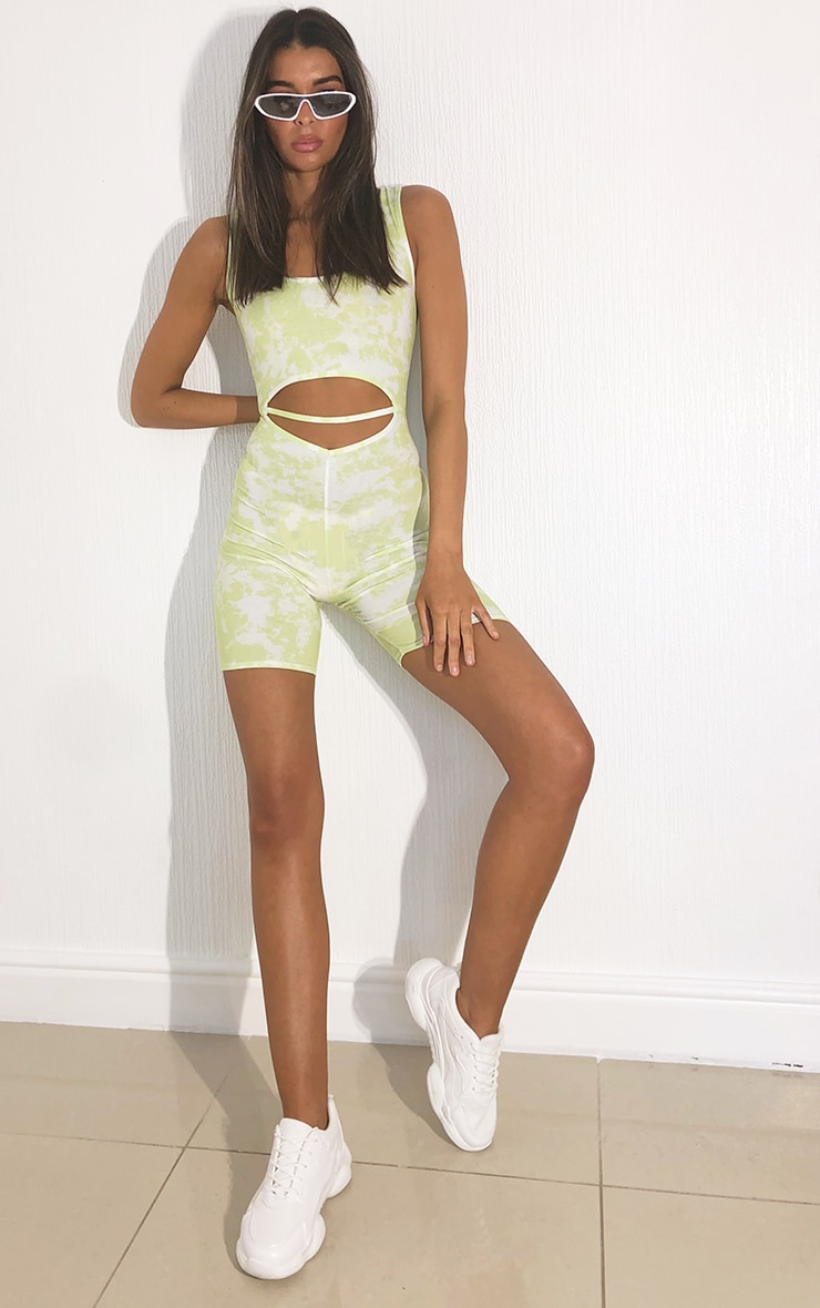 Lime Tie Dye Scoop Neck Cut Out Unitard 3