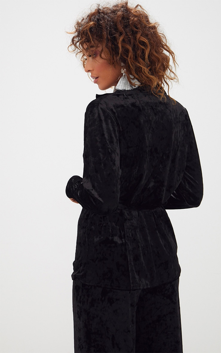 Black Crushed Velvet Belted Blazer  2