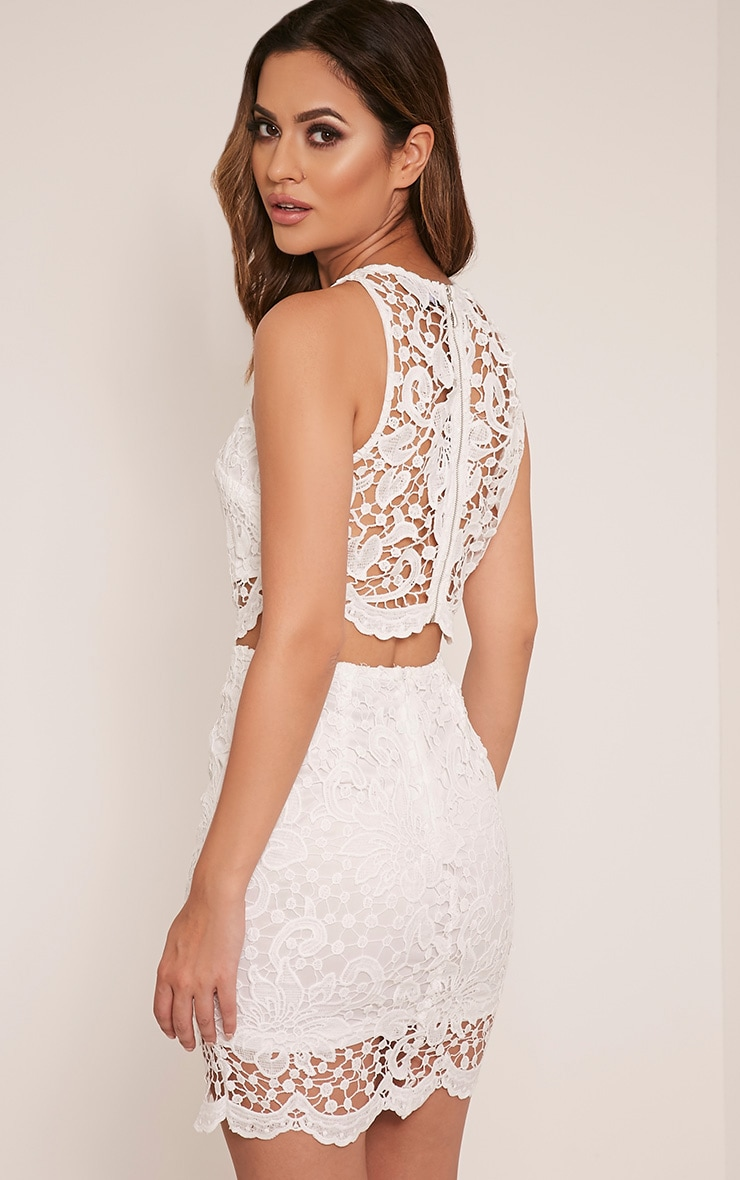 Millicent White Crochet Lace Crop Top 4