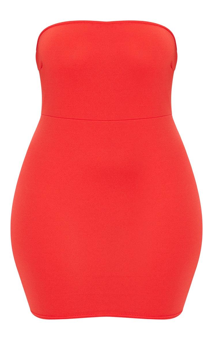 Plus Red Bandeau Bodycon Dress 3