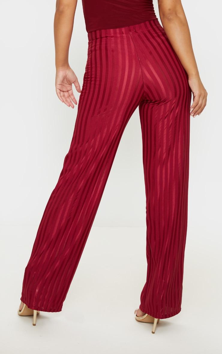 Petite Burgundy Satin Stripe Wide Leg Pants 4