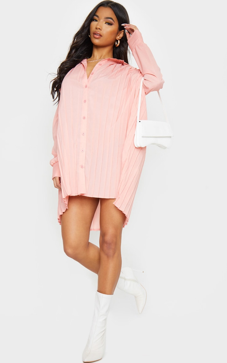 Peach Pleated Oversized Shirt Dress 3